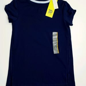 All In Motion Girls Shirt Short Sleeved Blue Small